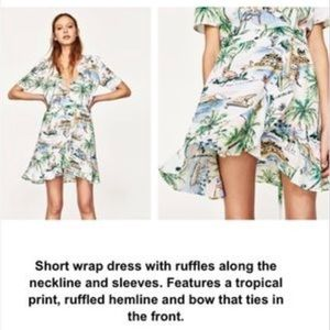 8e7216db Zara Dresses | Tropical Print Wrap Dress Size M | Poshmark